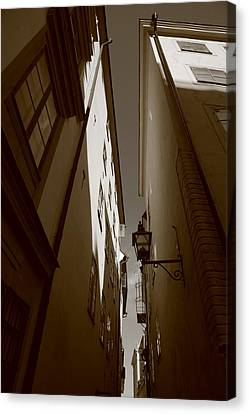 Lantern In A Narrow Alley - Sepia Canvas Print