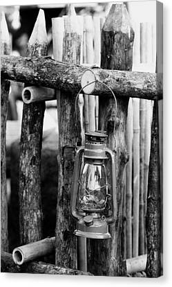 Lantern On Fence Canvas Print