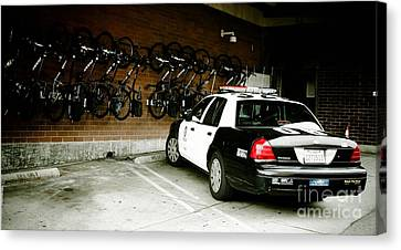Lapd Cruiser And Police Bikes Canvas Print