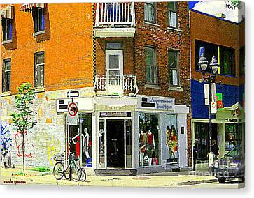 L'appartement Boutique Fashions Trendy Chic Clothing Store Ave Du Mont Royal City Scene  Canvas Print by Carole Spandau