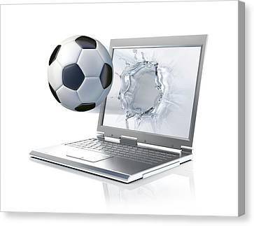 Laptop With Football Canvas Print by Leonello Calvetti