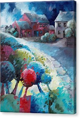 Inspirational. Pointillism Canvas Print - L'arbre Rouge by Beatrice BEDEUR