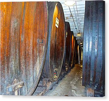 Large Barrels At Korbel Winery In Russian River Valley-ca Canvas Print by Ruth Hager