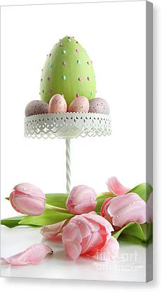 Large Easter Egg With Pink Tulips  Canvas Print by Sandra Cunningham