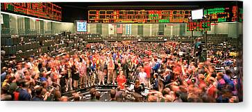 Large Group Of People On The Trading Canvas Print by Panoramic Images