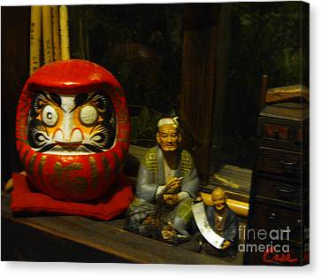 Large Japanese Daruma With Statues Canvas Print by Feile Case