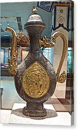 Large Ornamental Tea Pot In Tibet Museum In Lhasa-tibet     Canvas Print by Ruth Hager