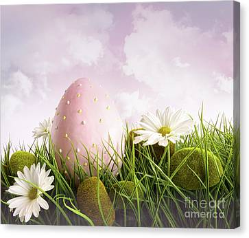 Large Pink Easter With Flowers In Tall Grass Canvas Print by Sandra Cunningham
