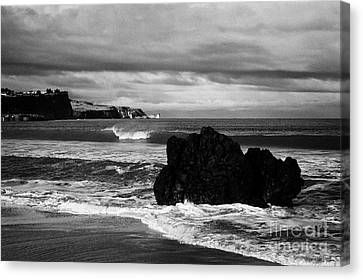 Large Rock On Ballycastle Beach In Winter County Antrim Northern Ireland Canvas Print