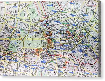 Large Street Map And Infopunkt Canvas Print