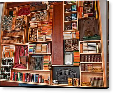 Large Vintage Bookcase Canvas Print by Valerie Garner