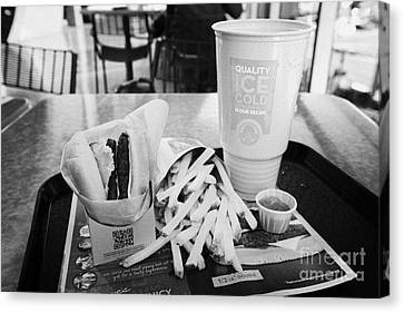 Hamburger Canvas Print - large wendys burger meal with large drink and fries Las Vegas Nevada USA by Joe Fox