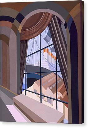 Curtains Canvas Print - Large Window With A Seat, From Relais by Edouard Benedictus