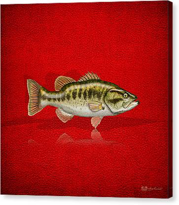 Largemouth Bass On Red Leather Canvas Print