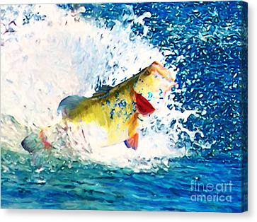 Largemouth Bass - Painterly Canvas Print by Wingsdomain Art and Photography