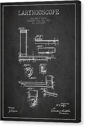 Technical Canvas Print - Laryngoscope Patent From 1937  - Dark by Aged Pixel