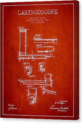 Laryngoscope Patent From 1937  - Red Canvas Print by Aged Pixel