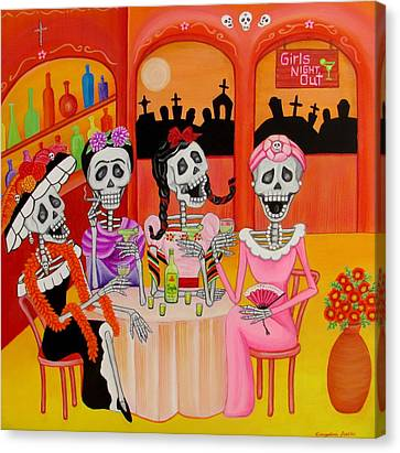 Canvas Print featuring the painting Las Comadres by Evangelina Portillo