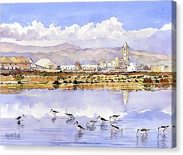 Las Salinas De Cabo De Gata Canvas Print by Margaret Merry