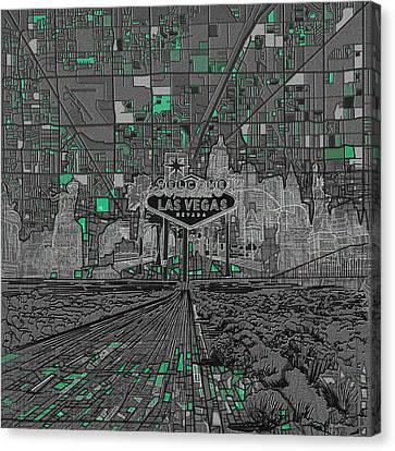 Las Vegas Abstract Map Canvas Print