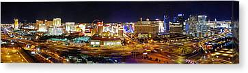 Las Vegas At Night - Panorama Canvas Print