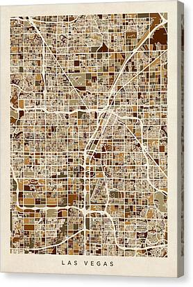 Las Vegas City Street Map Canvas Print by Michael Tompsett