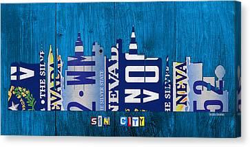 On Wood Canvas Print - Las Vegas Nevada City Skyline License Plate Art On Wood by Design Turnpike