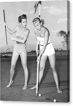 Showgirl Canvas Print - Las Vegas Showgirl Golf by Underwood Archives