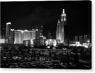 Las Vegas Skyline Bw Canvas Print