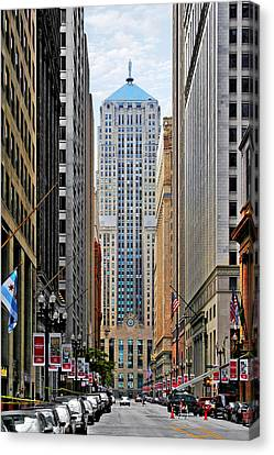 Lasalle Street Chicago - Wall Street Of The Midwest Canvas Print by Christine Till