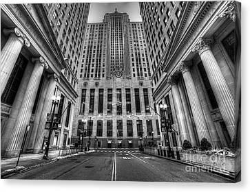 Lasalle Street In Chicago In Black And White Canvas Print