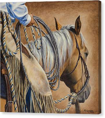 Canvas Print featuring the painting Lariat And Leather by Kim Lockman