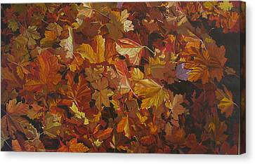 Canvas Print featuring the painting Last Fall In Monroe by Thu Nguyen
