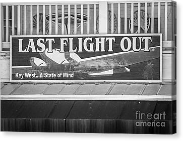 Last Flight Out A Key West State Of Mind - Black And White Canvas Print by Ian Monk