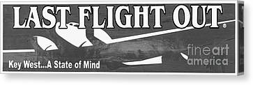 Last Flight Out A Key West State Of Mind - Black And White - Pan Canvas Print by Ian Monk