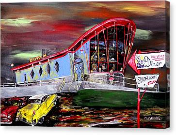Peggy Sues Diner Canvas Print - Last Friday Night - Huntsville Alabama  by Mark Moore