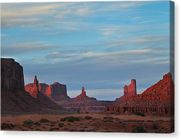 Canvas Print featuring the photograph Last Light In Monument Valley by Alan Vance Ley