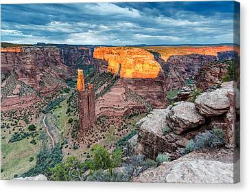 Navajo Nation Canvas Print - Last Light On Spider Rock Canyon De Chelly Navajo Nation Chinle Arizona by Silvio Ligutti