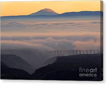 Last Light Over Mt. Adams Canvas Print by Mike Dawson