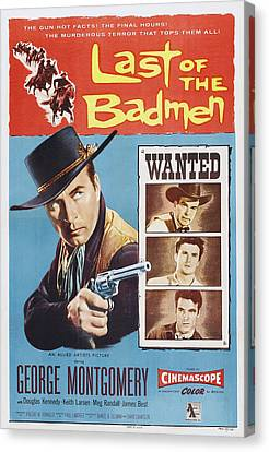 1950s Poster Art Canvas Print - Last Of The Badmen, Us Poster Art by Everett