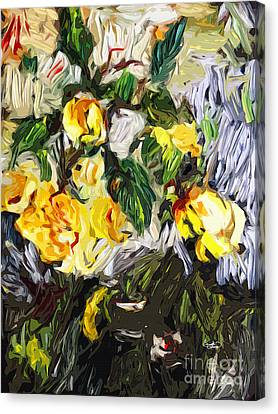 Last Of The Yellow Roses Canvas Print by Ginette Callaway
