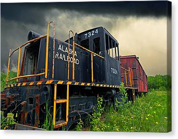 Rail Siding Canvas Print - Last Pull by Ron Day
