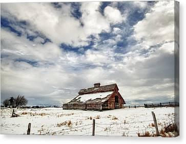 Last Snow Barn Canvas Print by Mary Jo Allen