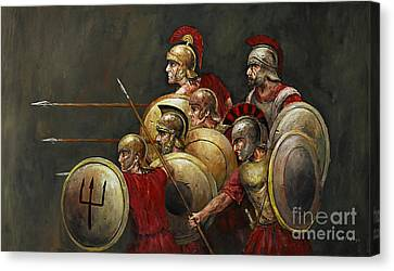 Canvas Print featuring the painting Last Stand by Arturas Slapsys