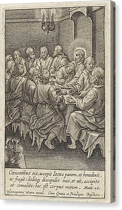 Last Supper, Christ And His Disciples Around A Table Canvas Print by Hieronymus Wierix