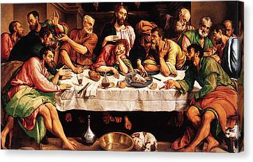 Canvas Print featuring the digital art Last Supper by Jacopo Bassano