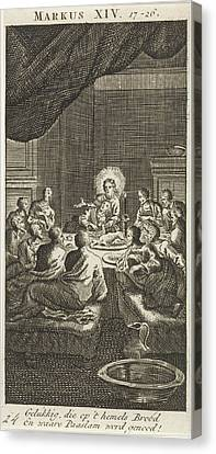 Last Supper, Jan Luyken, Anonymous Canvas Print by Jan Luyken And Anonymous