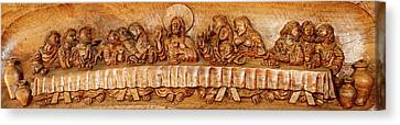 Last Supper Sculptures Carving On Wall Canvas Print