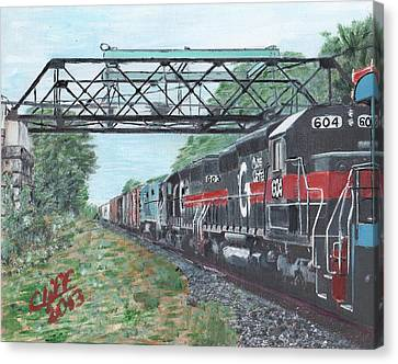 Millbury Canvas Print - Last Train Under The Bridge by Cliff Wilson