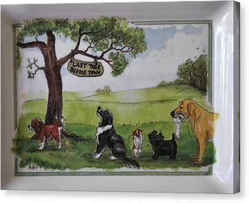 Last Tree Dogs Waiting In Line Canvas Print